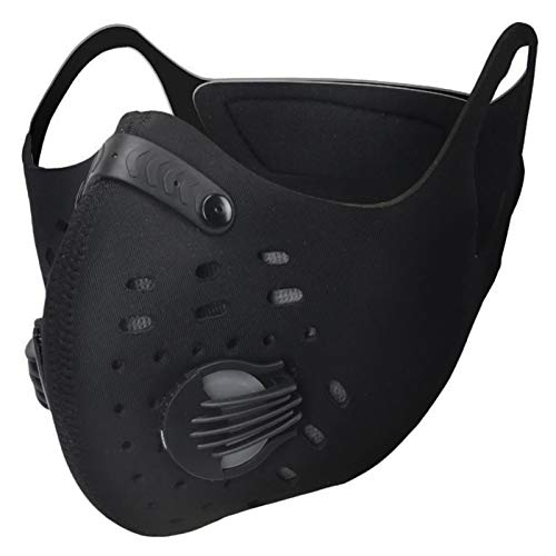SKYSPER Máscara para Ciclismo con Filtros de Carbono Mascarilla Carbono Activado Máscara Deportiva Protección Máscara para Deporte Motocicleta Bicicleta Esquí Actividades al Aire Libre