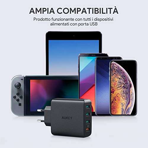 AUKEY Quick Charge 3.0 USBLadegerät 42W 4 Ports USB Netzteil mit AiPower Tech für Samsung Galaxy S9 / S8+ / Note 8, LG G5 / G6, Nexus 5X / 6P, HTC 10, iPhone XS/XS Max/XR, iPad Pro/Air usw