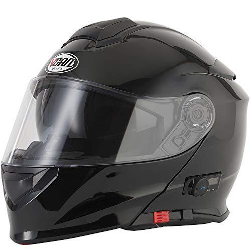 Casco para motocicleta V271 Blinc con Bluetooth VCAN modular, con visor, en varios colores, negro, Large