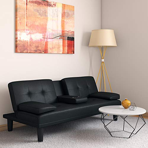 DHP Marley Sofa Sleeper with Cupholder and 2 Pillows, Black Faux Leather