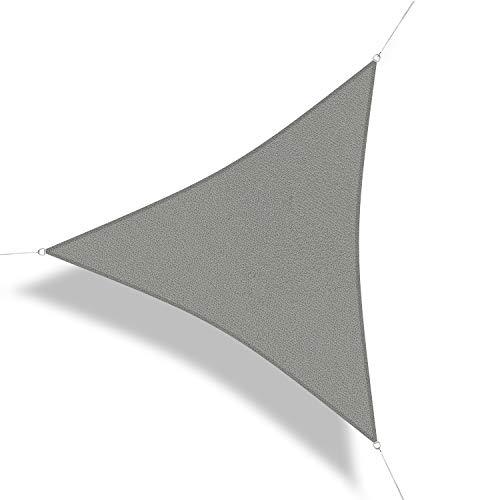 Corasol 111159 Premium Sonnensegel inkl. Zubehör, 3,6 x 3,6 x 3,6 m, Dreieck, Wind- & wasserdurchlässig, Silber-grau