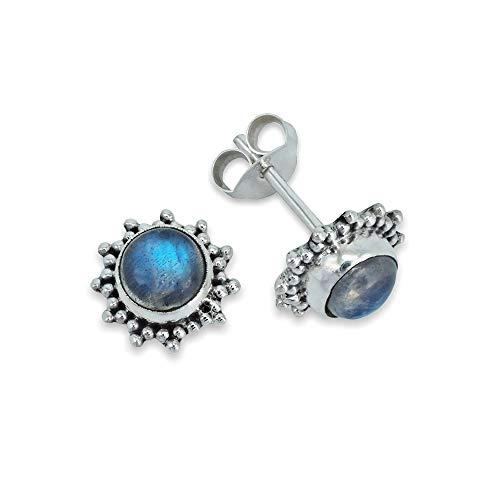 Ohrstecker Ohrringe Silber 925 Sterlingsilber Regenbogen Mondstein weiß Stein (Nr: MOS 082-04)