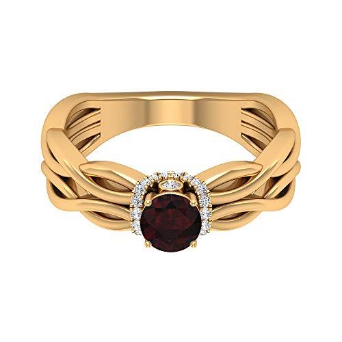 Anillo de granate solitario de 3/4 quilates, 1/3 quilates, halo de diamante HI-SI, anillo de compromiso de oro (granate redondo de 5 mm), 14K Oro amarillo, Size:EU 56