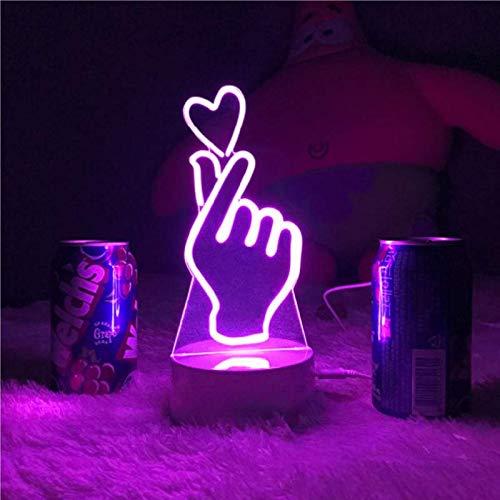 Finger Herz Acryl Lampe LED 7 Farbe Home Decor Nachtlicht Tischlampe K-POP