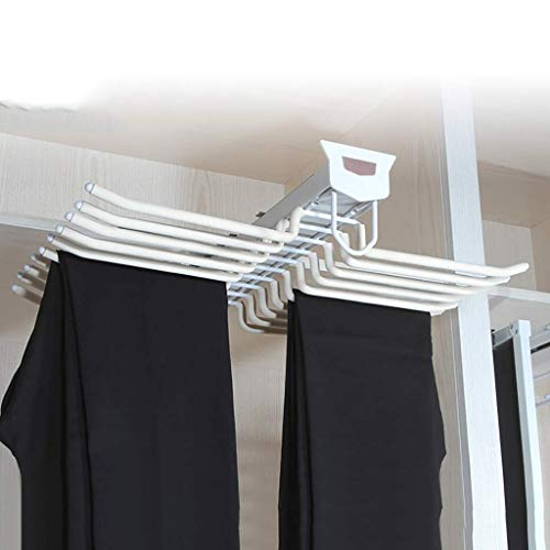 DGDG Estrarre Armadio Rack Pantaloni, Supporti Tie Hanger Ferroviaria, 20 Paia Pantaloni Appendini con serranda for Cabinet con Una profondità di 47 Centimetri-White