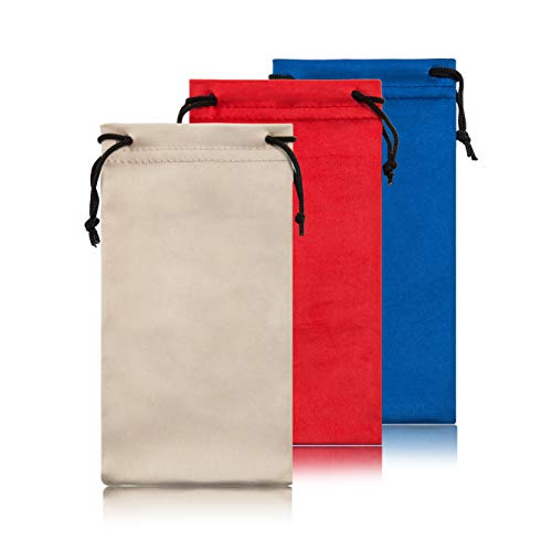 Soft Eyeglass Pouch 3 Pack - Eyewear Pouches Travel Pouch Glasses Bag