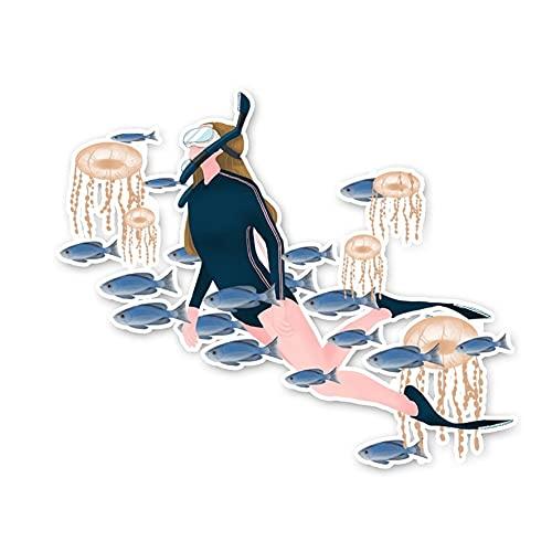 ZCZWQ Las Chicas más Frescas nadan para bucear Accesorios Adhesivos de Coche 11,2 * 13,7 cm