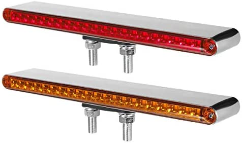 Partsam 2Pcs 12 Red Amber LED Combo Double Face Truck Semi Trailer Light Bars 20LED Waterproof product image