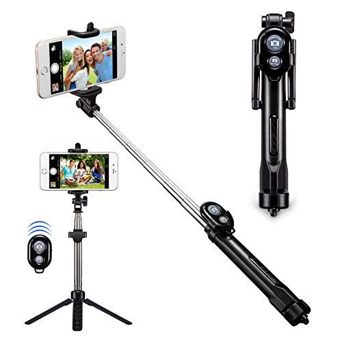 Bluetooth Selfie Stick, Alfort Multifunktionaler Selfie Stangen Erweiterbar Ausfahrbar Stab mit Stativ und Bluetooth Fernbedienung für iPhone 7 / 6S / 6 Plus / SE / 5S / 5C / 5, Samsung Galaxy S7 / S7