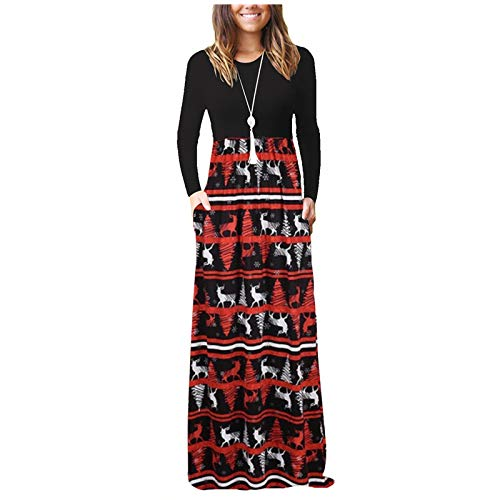 NEEKEY Long Sleeve Dresses for Womens Casual O Neck Maxi Dresses Loose Christmas Floral Print Long Dresses with Pockets(F#Red,X-Large)