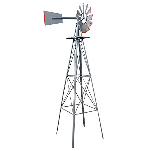 8FT Windmill Yard Garden Metal Ornamental Wind Mill Weather Vane Weather Decoration for Home, Backyard,Grey
