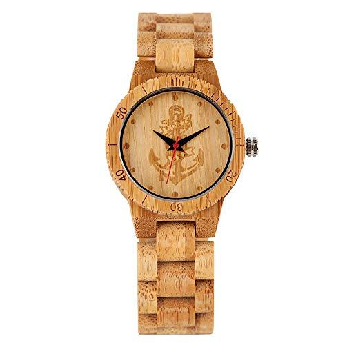 XYSQWZ Reloj Clásico De Bambú con Diseño De Ancla De Barco para Hombre Relojes De Madera De Cuarzo Minimalistas para Mujer Elegante Reloj De Pulsera De Bambú con Hebilla De Gancho para Niña