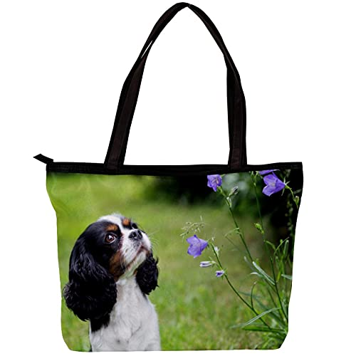 FuJae Bolsos de hombro de la bolsa de asas de la lona de las mujeres perro mirando las flores en el jardín Bolsa de playa Bolsa de compras para uso diario en viajes de trabajo
