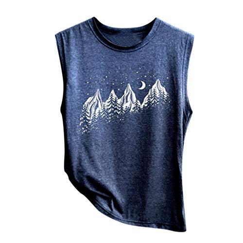 Lazzboy Women Tank Top Print Sleeveless Round Neck Vest Camis Size 8-16 Loose Ladies Blouse Shirt(2XL(16),Navy-Mountain)