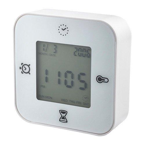 IKEA KLOCKIS-Orologio/Termometro/Sveglia/timer, colore: bianco