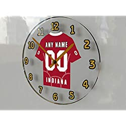 FanPlastic Big Ten College Football - Personalized Wall Clocks - Size 12 X 12 X 2 - Any Name, Any Number, Any Team !!! (Indiana)