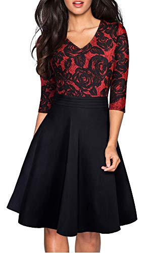 HOMEYEE Women's Chic V-Neck Lace Patchwork Flare Party Dress A062 (8, Red+Black Fabric B)