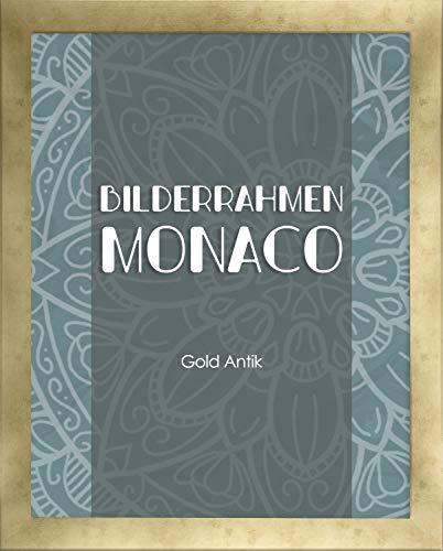 Homedeco-24 Monaco MDF Bilderrahmen ohne Rundungen 25 x 35 cm Größe wählbar 35 x 25 cm Gold Antik mit Acrylglas klar 1 mm