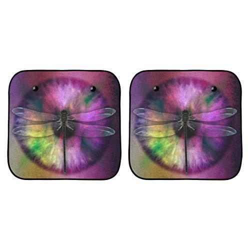 Auto und Fahrer Faltbarer Sonnenschirm Abstraktes Auge Libelle Käfer Auge Auge Design Farbe Flügelschirm Für Autofenster Für Kinder Faltbar 2-teilig Für Die meisten Limousinen Geländewagen Schützen S