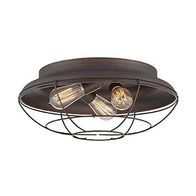Millennium Lighting 5387-RBZ Millennium:Three Light Flushmount Neo-Industrial 3-Light Flush Mount in Rubbed Bronze