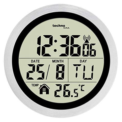 Technoline WT3005 Digitale Badezimmer-Funkwanduhr, Kuststoff, silber, Ø 147 x 79 mm