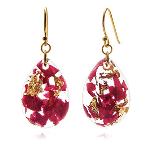 Zara - pendientes flores reales con pétalos de rosa | Joyas naturales de resina artesanal | Boho | Regalo único para mujer | ER63