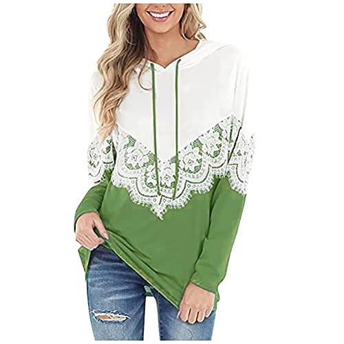 Sudadera de manga larga con diseño floral de encaje de color con capucha para mujer, verde, M