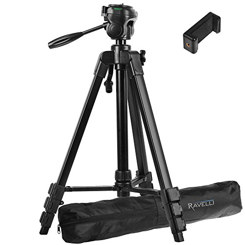 Ravelli Lightweight Aluminum Tripod, Includes Carry Bag and Universal Smartphone Mount (61' Tripod)