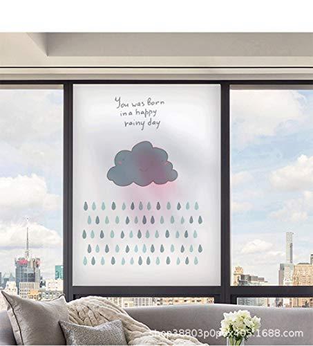 TFOOD raamfolie, raamfolie esthetische blauwe wolkenregen met motief privacy statische cling matte stickers Opakes glasdecor zelfklevende uv-bescherming voor keuken badkamer woonkamer