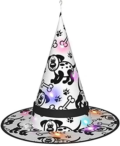 KINGAM Sombrero de bruja de cachorro blanco y negro con luz, para disfraz de Halloween, fiesta de disfraces, cosplay y uso diario