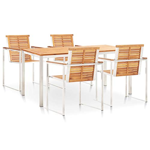 Tidyard 5 Piece Dining Set Solid Acacia Wood and Stainless Steel Weather- and Rust- resistant Stackable and Durable