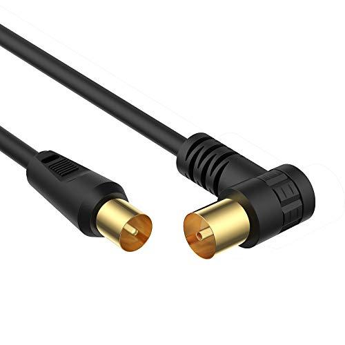 TESmart Fernsehkabel TV Kabel 2m, HDTV Antennenkabel Kabel TV Stecker (gerade) an TV-Buchse (90 Grad gewinkelt) Geeignet für HDTV, TV, Radio und mehr (schwarz)