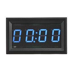 Acouto Digital Car Clock, 4.5-30V Multi-functional LED Electronic Digital Luminous Car Watch Clock Accessory Decoration for Car Truck Boats(BLUE)