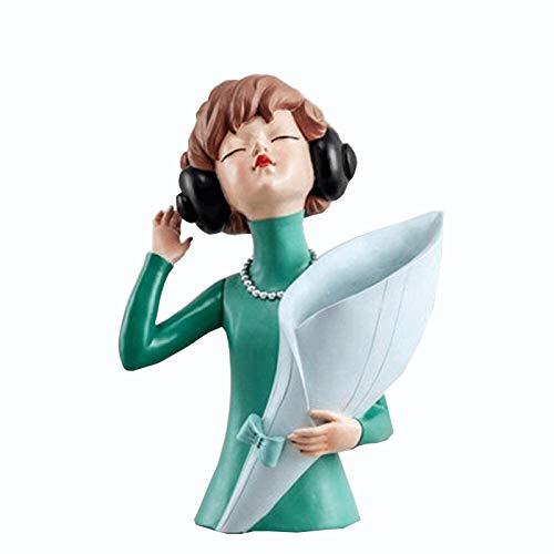 Escultura de escritorio Escuchar Chica escultura Jarrón Creativo Estatua Estatua Decoración Sala de estar Arreglo de Flores Decoración Mesa Decoración de Hogar Accesorios Figuras