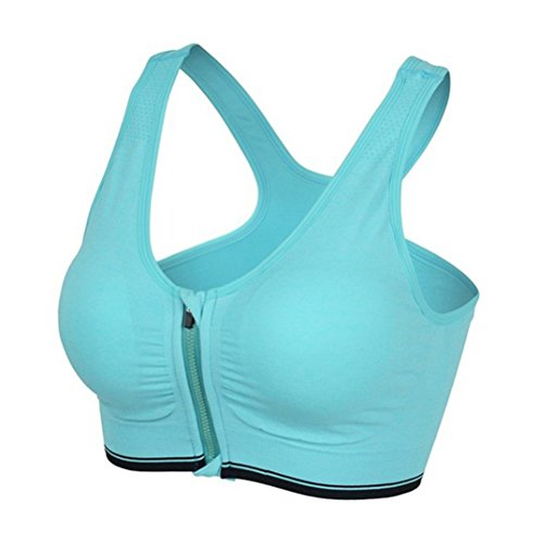 OULII Cierre de Cremallera para Mujer de Alto Impacto con Cremallera Delantera Racerback Sujetador Deportivo Running Yoga Top - Talla L (Verde)