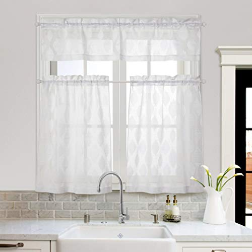 MYSKY HOME 3 Pieces Kitchen Curtains 36 inch Length Jacquard Rod Pocket Sheer Tier and Valance Curtain Sets(White)