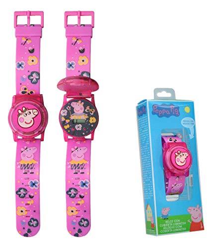 Kids Licensing |Reloj Digital para Niños | Reloj Peppa Pig |Display con Iluminación|Reloj Infantil con Tapa Protectora | Reloj de Pulsera Infantil Ajustable | Reloj de Aprendizaje | Licencia O