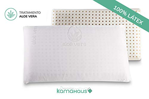 Dreaming Kamahaus Almohada núcleo Látex 75cm | Núcleo 100% LÁTEX | Microperforado | Descanso Natural | Funda Stretch Aloe Vera | Gran Confort |