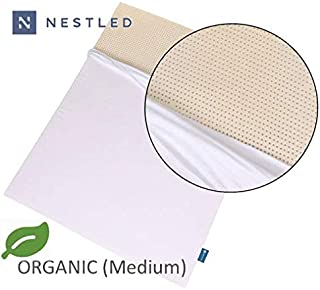 Organic 100% Natural Latex Mattress Topper - Medium Firmness - 2 Inch - King Size - Organic Cotton Cover Included - GOLS & GOTS Certified.