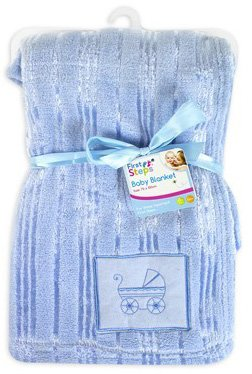 Luxury Soft Cute Baby Blanket Embroidery design 30? Washable 0months+ - Blue by First Steps