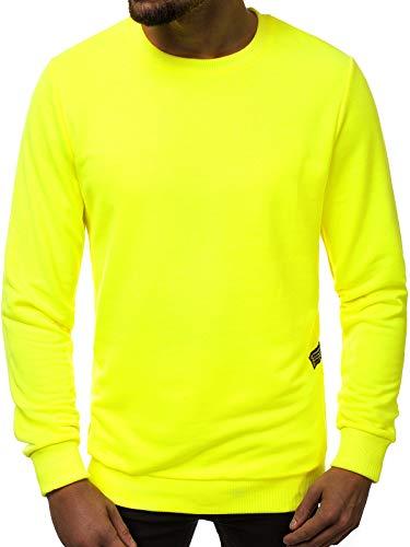 OZONEE Herren Sweatshirt Pullover Langarm Farbvarianten Langarmshirt Pulli ohne Kapuze Baumwolle Baumwollmischung Classic Basic Rundhals-Ausschnitt Sport OZONEE 171715 M GELB-NEON