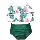 MSYOU Kinder-Badeanzug für Mädchen, einfache kleine frische Blumenpflanze, Sommer-Bikini, Badeanzug, Badeanzug, Strand, Grün 2, 128