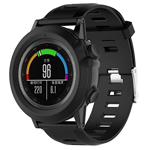 Tapa de Reloj de la Caja del Reloj Inteligente para Garmin Fenix 3 Protector de Pantalla Sassy Watch Shell Protector de Silicona, Liqingshangmao (Color : Black)