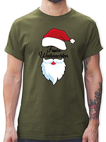 Weihnachten & Silvester - Frohe Weihnachten Mir Mütze und Bart - XL - Army Grün - L190 - L190 - Tshirt Herren und Männer T-Shirts