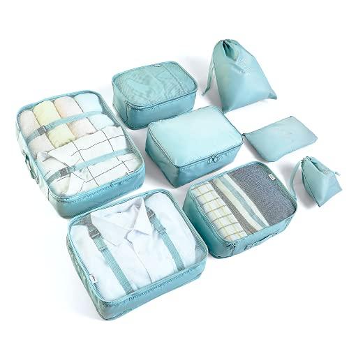 Rangement Valise Lot de 8 Organisateur de Voyage Packing Cubes Organiseur de Sac pour Les Vêtements, Chaussures et Cosmétiques