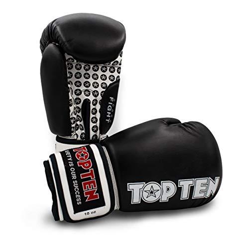 TOP Ten Boxhandschuhe Fight - 10 12 16 Oz - schwarz rot blau grün orange Kickboxen UVM. schwarz/weiß 12Oz