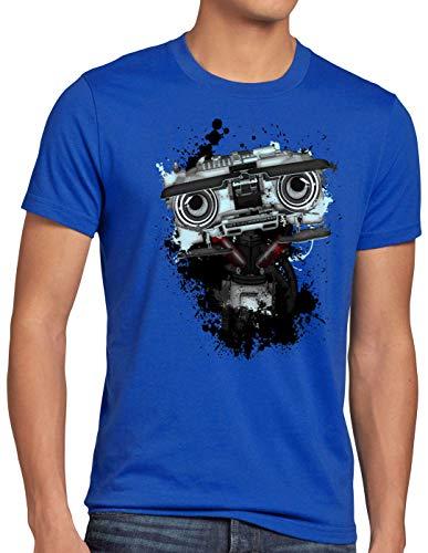 style3 Número 5 Camiseta para Hombre T-Shirt Johnny Cinco Robot Short Circuit, Talla:S, Color:Azul