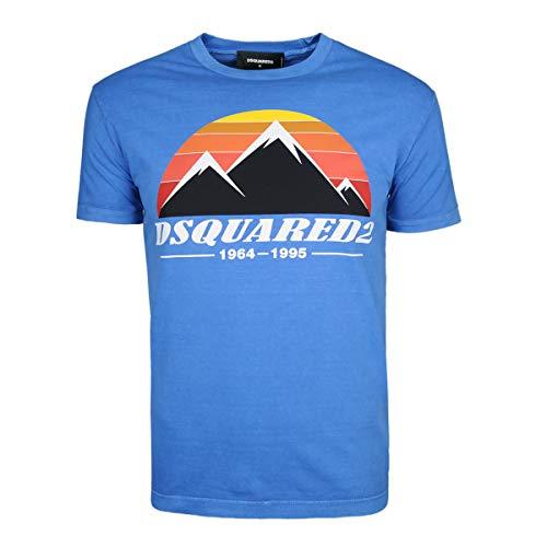 DSquared2 Herren T-Shirt - Mens D2 T-Shirt, Blau - S74GD0291
