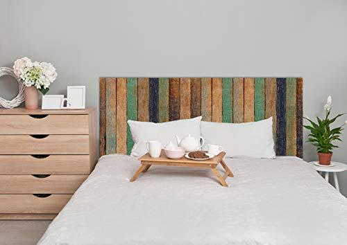 Deco&Fun - Cabecero Cama Madera Impreso Wood Line Colour 100x60cm para Cama de 90- Medidas 100, 115, 150, 200 -Cabecero Original