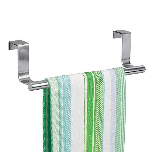 mDesign Geschirrtuchhalter Küchenschrank - Länge: 23 cm, Farbe: Edelstahl poliert - Geschirrhandtuchhalter - Handtuchhalter Küche